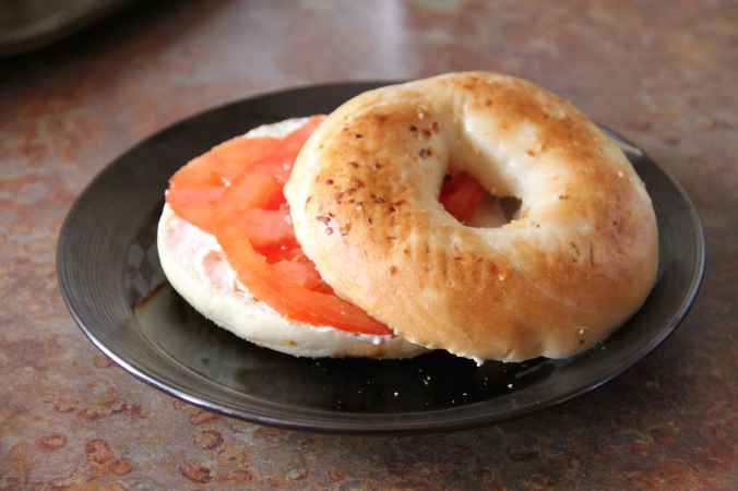 Bagel, tomato, and cream cheese