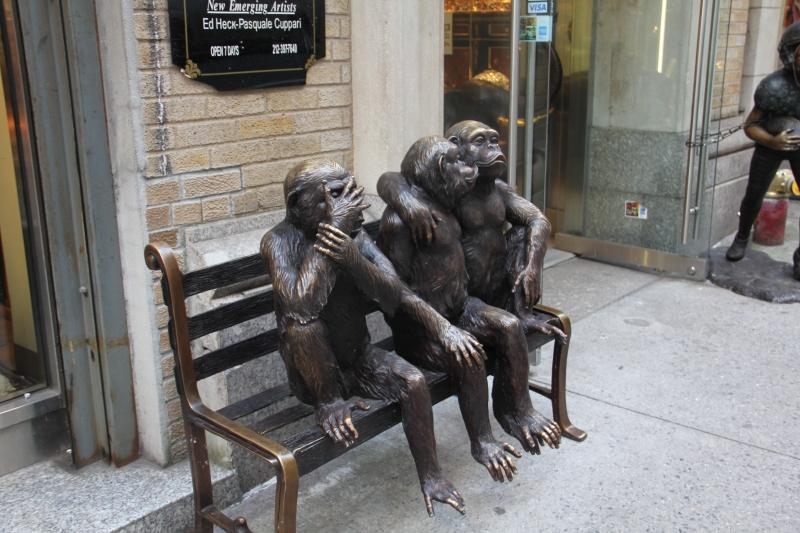 metal monkey statue NY